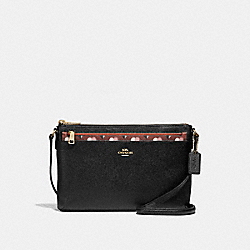 COACH EAST/WEST CROSSBODY WITH POP-UP POUCH WITH CHECKER HEART PRINT - TERRACOTTA MULTI/LIGHT GOLD - F26149