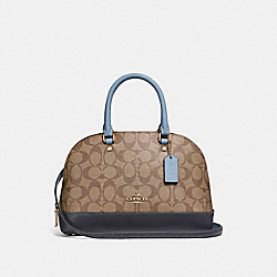 COACH MINI SIERRA SATCHEL IN COLORBLOCK SIGNATURE CANVAS - KHAKI/MIDNIGHT POOL/LIGHT GOLD - F26155