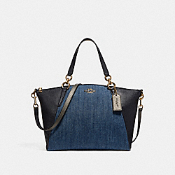SMALL KELSEY SATCHEL - DENIM MULTI/LIGHT GOLD - COACH F26159
