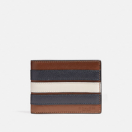 COACH SLIM BILLFOLD WALLET WITH VARSITY STRIPE - SADDLE/MIDNIGHT NVY/CHALK - f26171