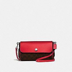 REVERSIBLE CROSSBODY IN SIGNATURE CANVAS - BROWN/METALLIC HOT PINK/SILVER - COACH F26172