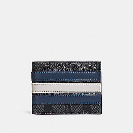COACH SLIM BILLFOLD WALLET IN SIGNATURE CANVAS WITH VARSITY STRIPE - MIDNIGHT NVY/DENIM/CHALK - F26173