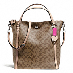 COACH PEYTON CONVERTIBLE SHOULDER BAG IN SIGNATURE - SILVER/KHAKI/TAN - F26183