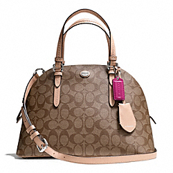 COACH PEYTON CORA DOMED SATCHEL IN SIGNATURE COATED CANVAS - SILVER/KHAKI/TAN - F26184