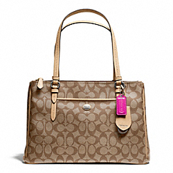 COACH PEYTON JORDAN DOUBLE ZIP CARRYALL IN SIGNATURE COATED CANVAS - SILVER/KHAKI/TAN - F26187