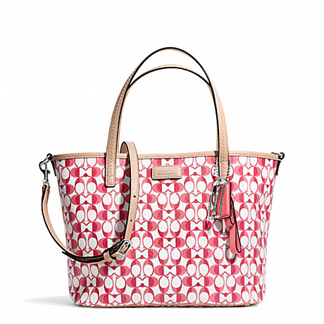 COACH f26201 PARK METRO SMALL TOTE IN DREAM C COATED CANVAS SILVER/WHITE POMEGRANATE/TAN