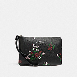 CORNER ZIP WITH CROSS STITCH FLORAL PRINT - SILVER/BLACK MULTI - COACH F26217