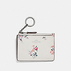 MINI ID SKINNY WITH CROSS STITCH FLORAL PRINT - SILVER/CHALK MULTI - COACH F26218