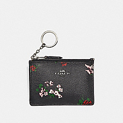 COACH MINI ID SKINNY WITH CROSS STITCH FLORAL PRINT - SILVER/BLACK MULTI - F26218