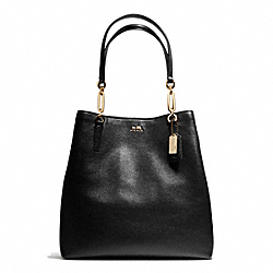 COACH MADISON LEATHER NORTH/SOUTH TOTE - LIGHT GOLD/BLACK - F26222