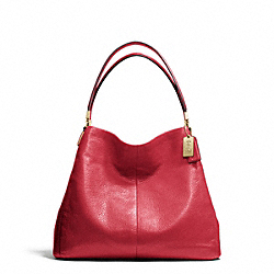 COACH MADISON LEATHER SMALL PHOEBE SHOULDER BAG - LIGHT GOLD/SCARLET - F26224