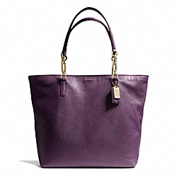 COACH MADISON LEATHER NORTH/SOUTH TOTE - LIGHT GOLD/BLACK VIOLET - F26225