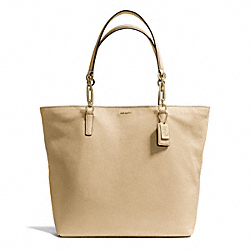 COACH MADISON LEATHER NORTH/SOUTH TOTE - LIGHT GOLD/TAN - F26225