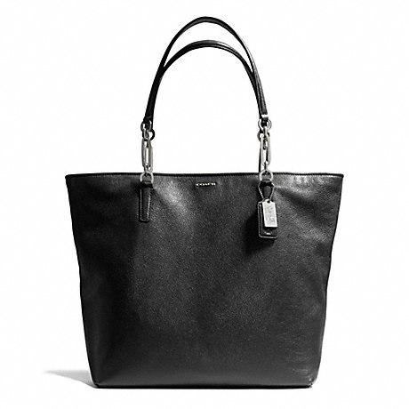 COACH f26225 MADISON LEATHER NORTH/SOUTH TOTE SILVER/BLACK