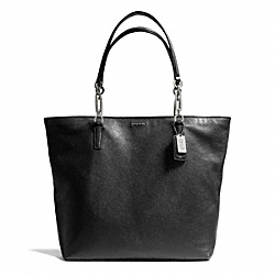 COACH MADISON LEATHER NORTH/SOUTH TOTE - SILVER/BLACK - F26225