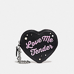 LOVE ME TENDER HEART COIN CASE - SILVER/BLACK MULTI - COACH F26239