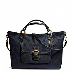 COACH CAMPBELL SIGNATURE METALLIC IZZY FASHION SATCHEL - BRASS/MIDNIGHT - F26241