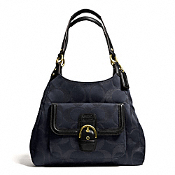 COACH CAMPBELL SIGNATURE METALLIC HOBO - BRASS/MIDNIGHT - F26245