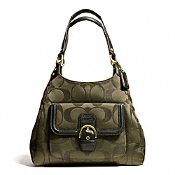 COACH CAMPBELL SIGNATURE METALLIC HOBO - BRASS/MOSS - F26245