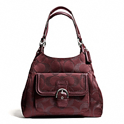 COACH CAMPBELL SIGNATURE METALLIC HOBO - SILVER/BORDEAUX - F26245