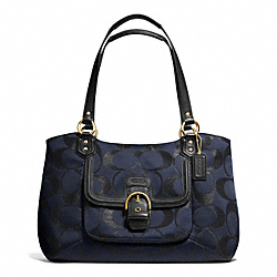 CAMPBELL SIGNATURE METALLIC BELLE CARRYALL - BRASS/MIDNIGHT - COACH F26246