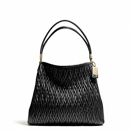 COACH f26257 MADISON GATHERED TWIST SMALL PHOEBE SHOULDER BAG LIGHT GOLD/BLACK