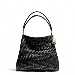 COACH MADISON GATHERED TWIST LEATHER SMALL PHOEBE SHOULDER BAG - LIGHT GOLD/BLACK - F26258