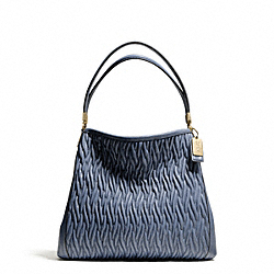 COACH MADISON GATHERED TWIST LEATHER SMALL PHOEBE SHOULDER BAG - LIGHT GOLD/CORNFLOWER - F26258