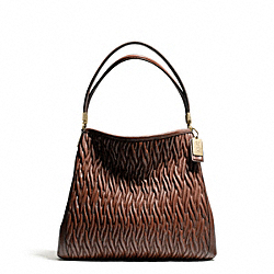 COACH MADISON GATHERED TWIST LEATHER SMALL PHOEBE SHOULDER BAG - LIGHT GOLD/CHESTNUT - F26258