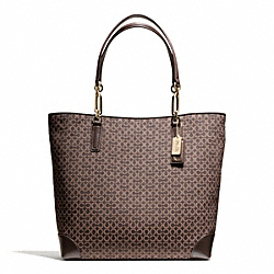 COACH MADISON OP ART NEEDLEPOINT NORTH/SOUTH TOTE - LIGHT GOLD/MAHOGANY - F26277