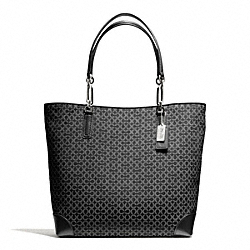 COACH MADISON OP ART NEEDLEPOINT NORTH/SOUTH TOTE - SILVER/BLACK - F26277
