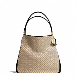 COACH MADISON NEEDLEPOINT OP ART SMALL PHOEBE SHOULDER BAG - LIGHT GOLD/KHAKI/BLACK - F26281