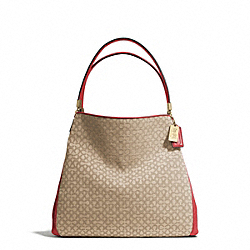 COACH MADISON NEEDLEPOINT OP ART SMALL PHOEBE SHOULDER BAG - LIGHT GOLD/KHAKI/LOVE RED - F26281