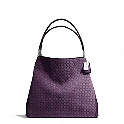 COACH MADISON NEEDLEPOINT OP ART SMALL PHOEBE SHOULDER BAG - SILVER/BLACK VIOLET - F26281
