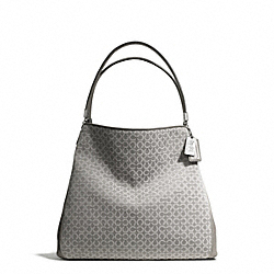 COACH MADISON NEEDLEPOINT OP ART SMALL PHOEBE SHOULDER BAG - SILVER/LIGHT GREY - F26281