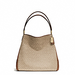COACH MADISON NEEDLEPOINT OP ART SMALL PHOEBE SHOULDER BAG - LIGHT GOLD/KHAKI/CHESTNUT - F26282