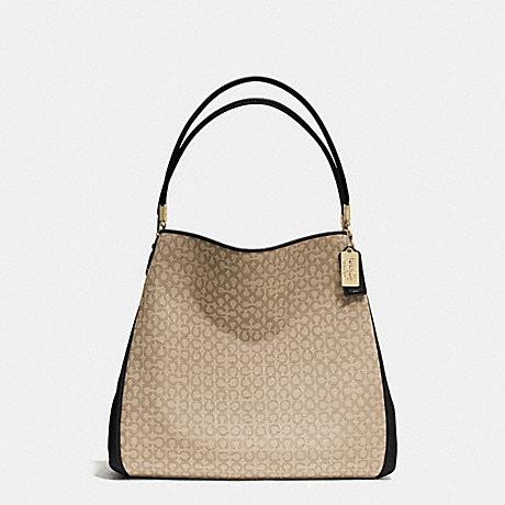 COACH f26282 MADISON NEEDLEPOINT OP ART SMALL PHOEBE SHOULDER BAG  LIGHT GOLD/KHAKI/BLACK