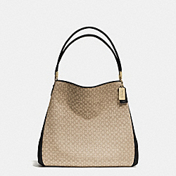 COACH MADISON NEEDLEPOINT OP ART SMALL PHOEBE SHOULDER BAG - LIGHT GOLD/KHAKI/BLACK - F26282