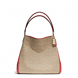 COACH MADISON NEEDLEPOINT OP ART SMALL PHOEBE SHOULDER BAG - LIGHT GOLD/KHAKI/LOVE RED - F26282