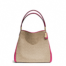COACH MADISON NEEDLEPOINT OP ART SMALL PHOEBE SHOULDER BAG - LIGHT GOLD/KHAKI/PINK RUBY - F26282