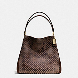 COACH MADISON NEEDLEPOINT OP ART SMALL PHOEBE SHOULDER BAG - LIGHT GOLD/MAHOGANY - F26282