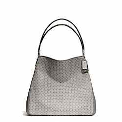 COACH MADISON NEEDLEPOINT OP ART SMALL PHOEBE SHOULDER BAG - SILVER/LIGHT GREY - F26282