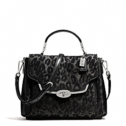 COACH MADISON CHENILLE OCELOT SMALL SADIE FLAP SATCHEL - ONE COLOR - F26284