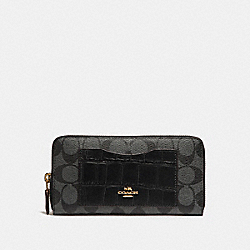 ACCORDION ZIP WALLET - LIGHT GOLD/BLACK SMOKE BLACK MULTI - COACH F26300