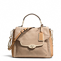 COACH MADISON GLITTER LIZARD SMALL SADIE FLAP SATCHEL - LIGHT GOLD/BUFF - F26324