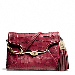 COACH MADISON CROC EMBOSSED SHOULDER FLAP - LIGHT GOLD/RUST RED - F26334