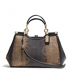COACH MADISON METALLIC LIZARD EMBOSSED CARRIE SATCHEL - LIGHT GOLD/BRONZE - F26339