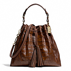 COACH MADISON CROC EMBOSSED LARGE DRAWSTRING SHOULDER BAG - LIGHT GOLD/COGNAC - F26341