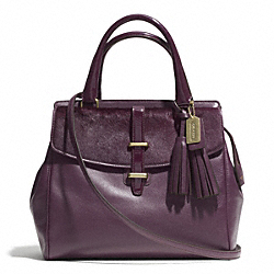 HAIRCALF NORTH/SOUTH SATCHEL WITH HASP - f26362 - BRASS/AUBERGINE