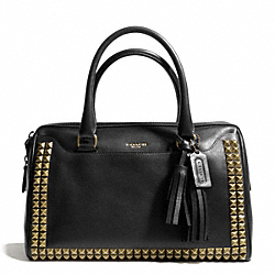 COACH HALEY STUDDED LEATHER SATCHEL - AB/BLACK - F26404